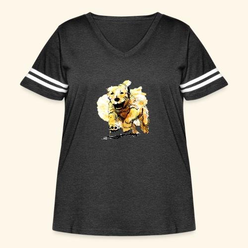 oil dog - Women's Curvy Vintage Sport T-Shirt
