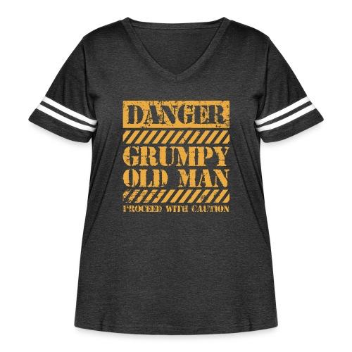 Danger Grumpy Old Man Sarcastic Saying - Women's Curvy Vintage Sport T-Shirt