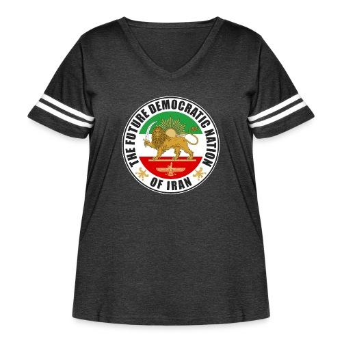 Iran Emblem Old Flag With Lion - Women's Curvy Vintage Sport T-Shirt