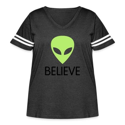 BELIEVE - Women's Curvy Vintage Sport T-Shirt