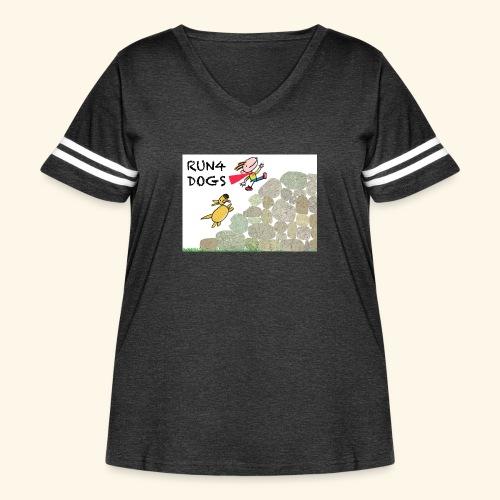 Dog chasing kid - Women's Curvy Vintage Sport T-Shirt
