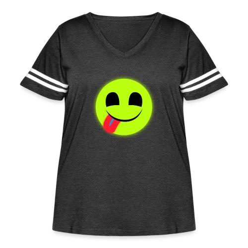 Glowing Emoticon - Women's Curvy Vintage Sport T-Shirt