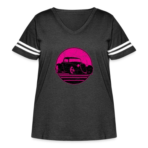 Retro Hot Pink Hot Rod Grungy Sunset Illustration - Women's Curvy Vintage Sport T-Shirt