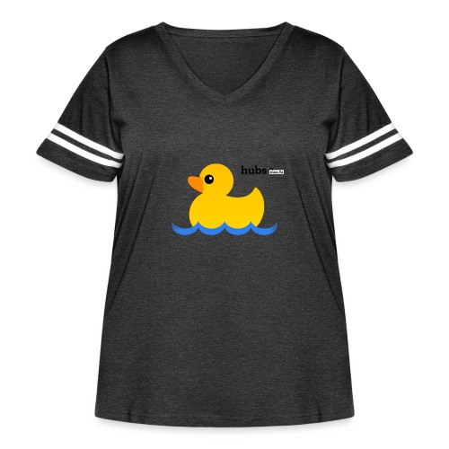 Hubs Duck - Wordmark and Water - Women's Curvy Vintage Sport T-Shirt