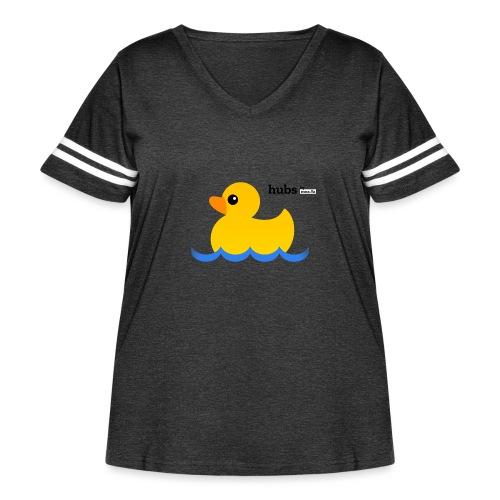 Hubs Duck - Wordmark and Water - Women's Curvy Vintage Sports T-Shirt