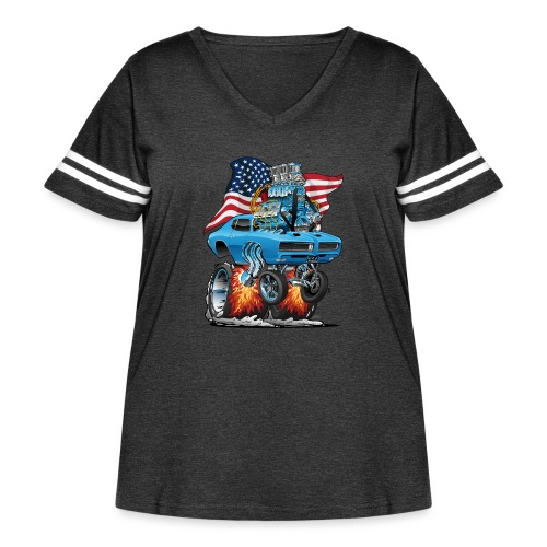 Patriotic Sixties American Muscle Car with Flag - Women's Curvy Vintage Sport T-Shirt