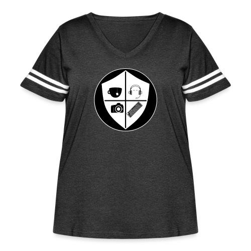 Punk Who Drinks Tea Crest (Inverted) - Women's Curvy Vintage Sport T-Shirt