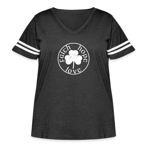 Irish Shamrock Faith Hope Love - Women's Curvy Vintage Sport T-Shirt