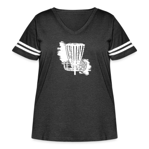 Disc Golf Basket White Print - Women's Curvy Vintage Sport T-Shirt