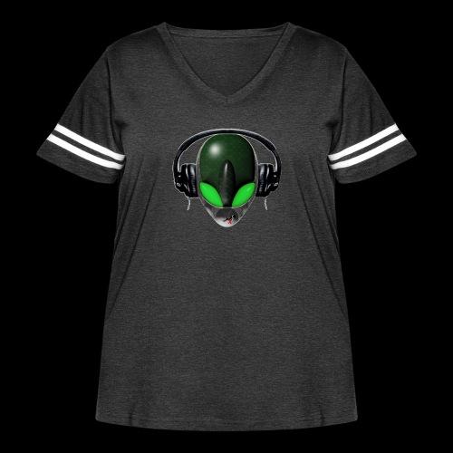 Reptoid Green Alien Face DJ Music Lover - Friendly - Women's Curvy Vintage Sport T-Shirt
