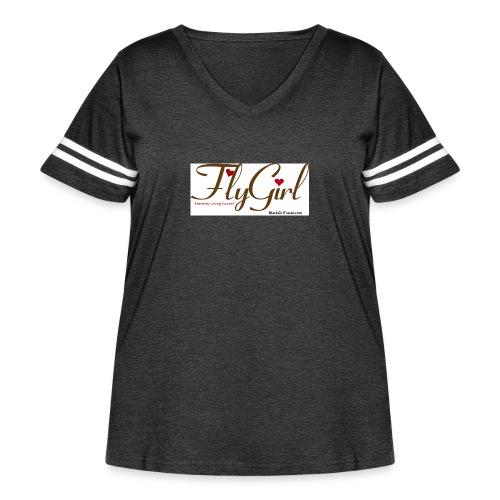 FlyGirlTextGray jpg - Women's Curvy Vintage Sport T-Shirt