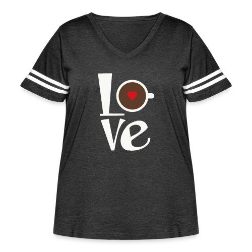 Love Coffee - Women's Curvy Vintage Sport T-Shirt