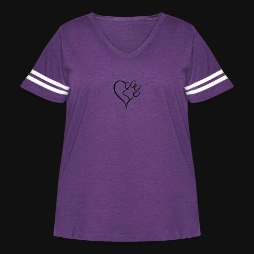 Pawprint on my Heart - Women's Curvy Vintage Sport T-Shirt