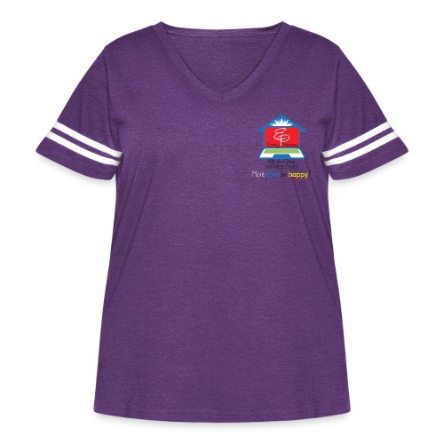 EP Logo with More Time For Happy! - Women's Curvy Vintage Sports T-Shirt