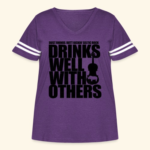 Dust Rhinos Drinks Well With Others - Women's Curvy Vintage Sport T-Shirt