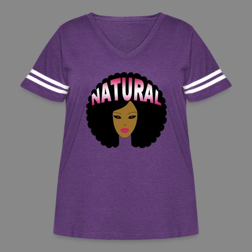 Natural Afro (Pink) - Women's Curvy Vintage Sport T-Shirt