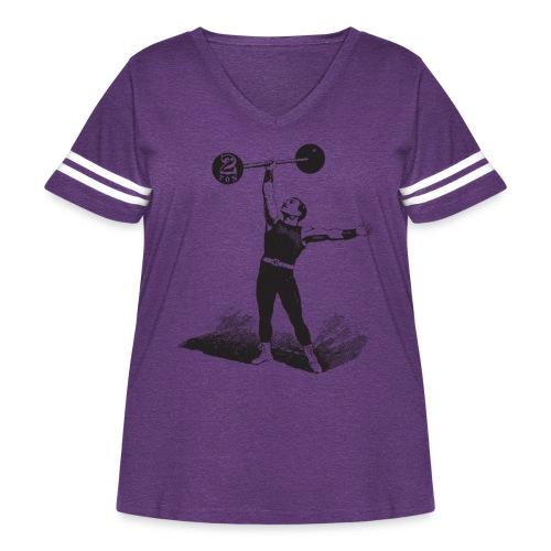 Women's 2Ton Sideshow Strongman Shirt - Women's Curvy Vintage Sport T-Shirt
