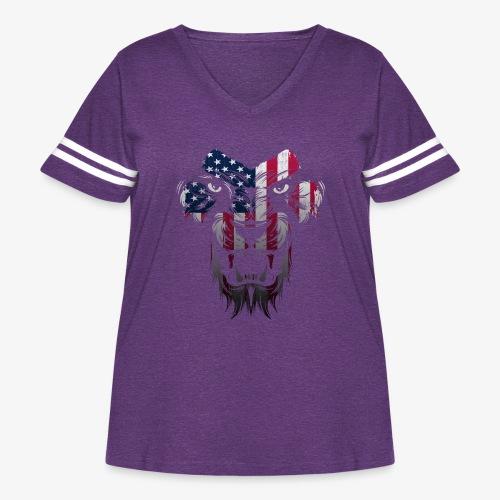 American Flag Lion Shirt - Women's Curvy Vintage Sport T-Shirt