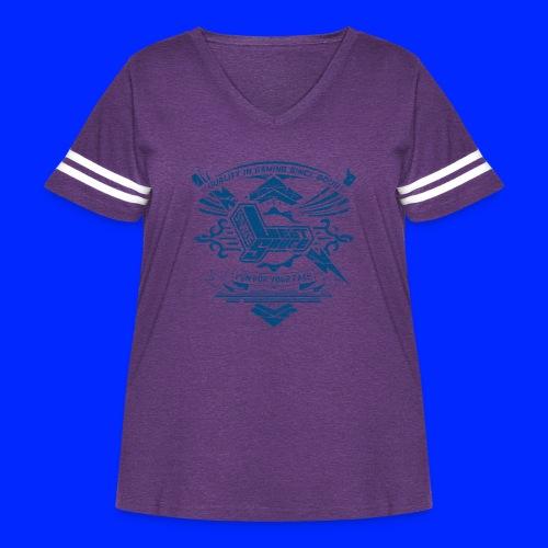 Vintage Leet Sauce Studios Crest Blue - Women's Curvy Vintage Sport T-Shirt