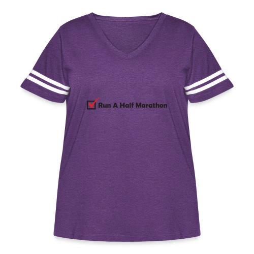 RUN HALF MARATHON CHECK - Women's Curvy Vintage Sport T-Shirt