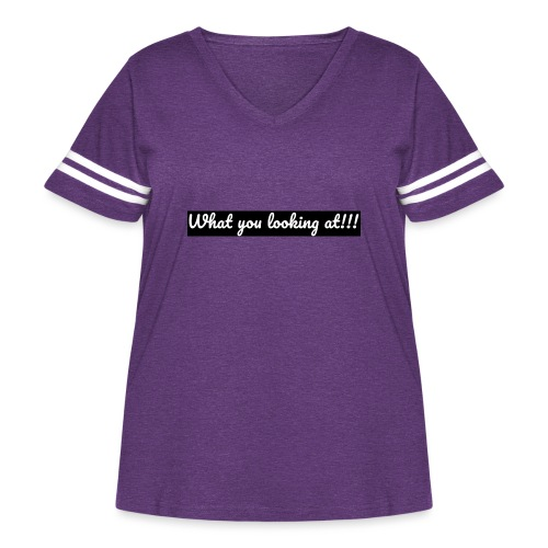 What you looking at!!! - Women's Curvy Vintage Sports T-Shirt