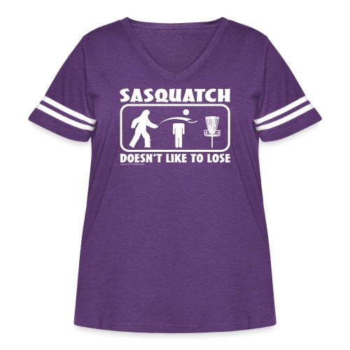 Sasquatch Doesn t Like to Lose Disc Golf Shirt Co - Women's Curvy Vintage Sport T-Shirt