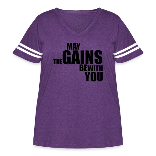 May the Gains be with You - Women's Curvy Vintage Sport T-Shirt