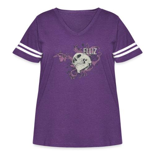Ornamental Skull Bandana - Women's Curvy Vintage Sport T-Shirt