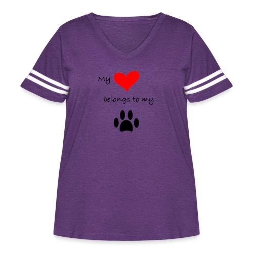 Dog Lovers shirt - My Heart Belongs to my Dog - Women's Curvy Vintage Sport T-Shirt