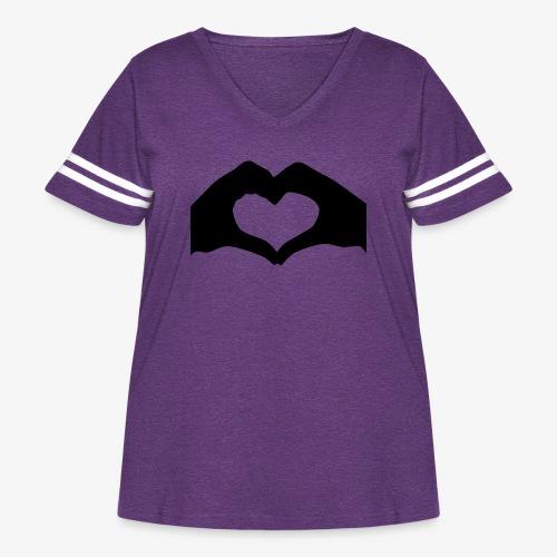 Silhouette Heart Hands | Mousepad - Women's Curvy Vintage Sport T-Shirt