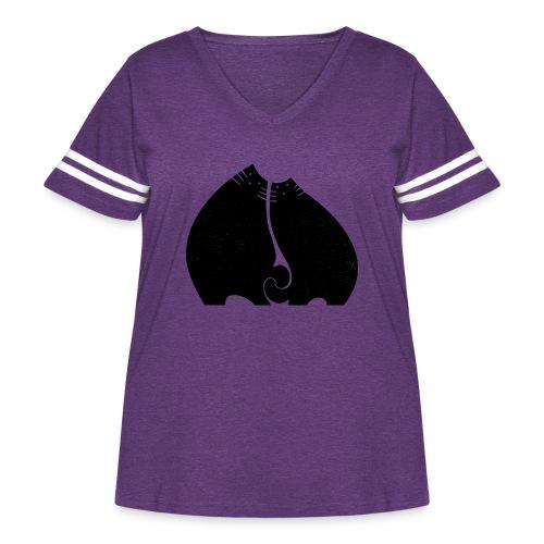 Cute Cuddling Cats - Women's Curvy Vintage Sport T-Shirt