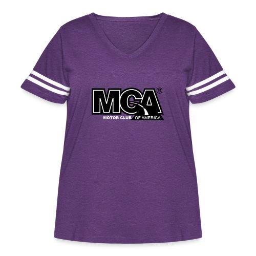 MCA Logo WBG Transparent BLACK TITLEfw fw png - Women's Curvy Vintage Sport T-Shirt