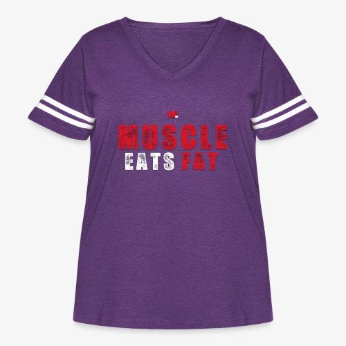 Muscle Eats Fat (Blood & Sweat) - Women's Curvy Vintage Sport T-Shirt
