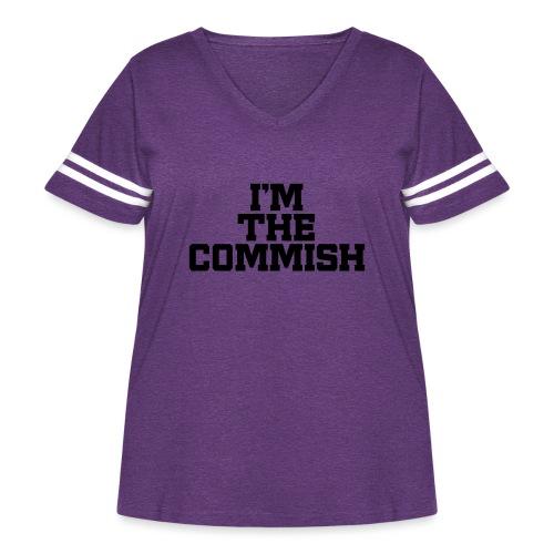 I'm The Commish (Turquoise & Metallic Gold) - Women's Curvy Vintage Sport T-Shirt