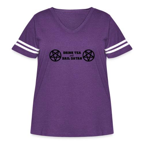 Drink Tea And Hail Satan - Women's Curvy Vintage Sport T-Shirt