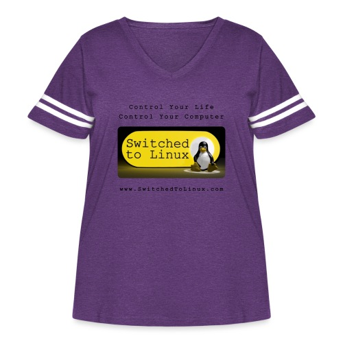 Switched to Linux Logo with Black Text - Women's Curvy Vintage Sport T-Shirt