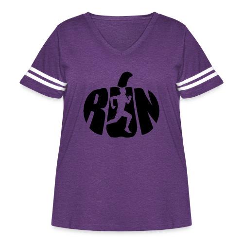 Halloween Running Pumpkin - Women's Curvy Vintage Sport T-Shirt