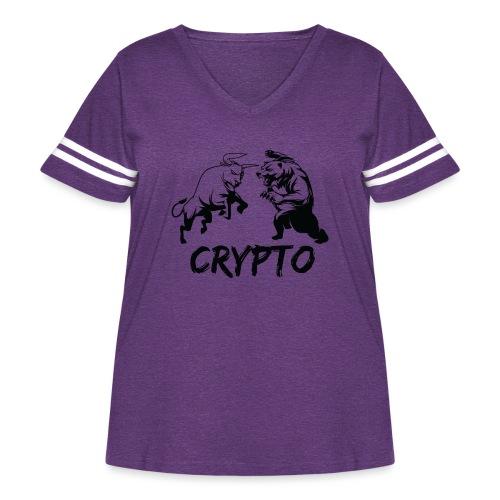 CryptoBattle Black - Women's Curvy Vintage Sport T-Shirt