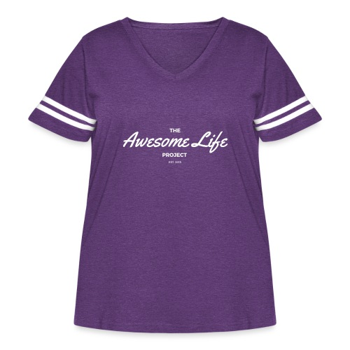 The AwesomeLife Project Logo White - Women's Curvy Vintage Sport T-Shirt