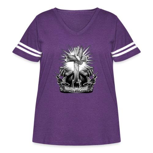 Salvacion by RollinLow - Women's Curvy Vintage Sport T-Shirt