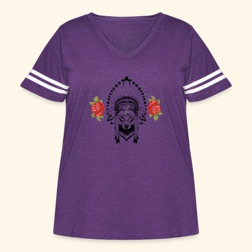 WOLF KING - Women's Curvy Vintage Sport T-Shirt