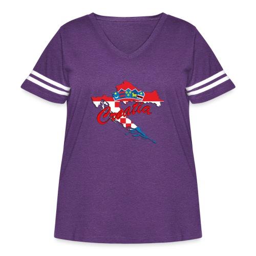Croatia Football Team Colours T-Shirt Treasure Des - Women's Curvy Vintage Sport T-Shirt