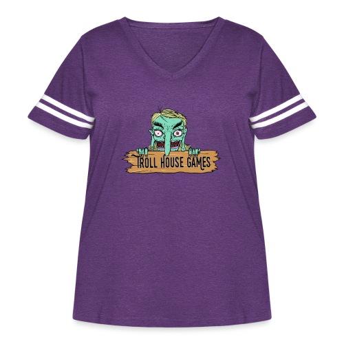 Troll House Games Cartoon Logo - Women's Curvy Vintage Sport T-Shirt