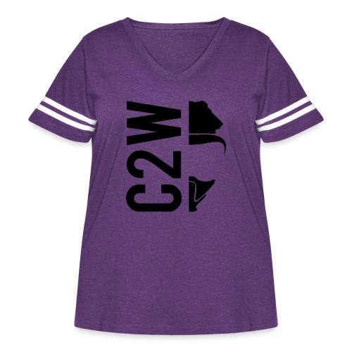 C2W Split Logo - Black - Premium Tee - Women's Curvy Vintage Sport T-Shirt