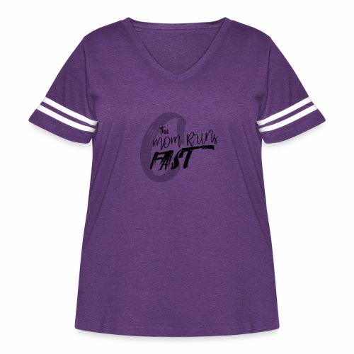 This Mom Runs FAST - Women's Curvy Vintage Sport T-Shirt