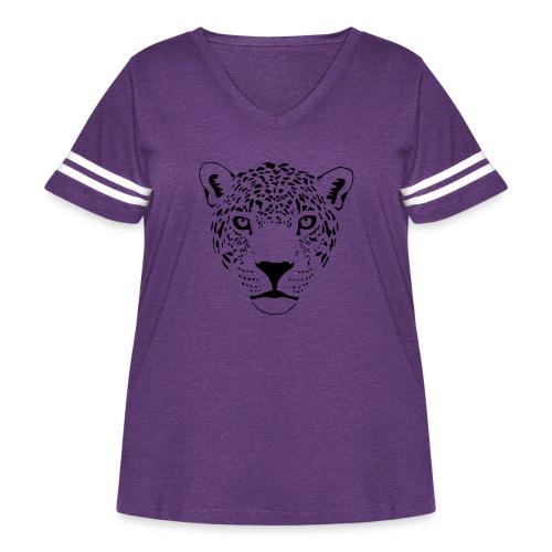 jaguar cougar cat puma panther leopard cheetah - Women's Curvy Vintage Sport T-Shirt