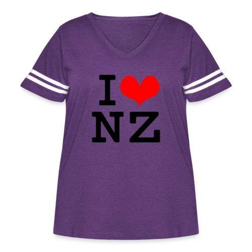 I Love NZ - Women's Curvy Vintage Sport T-Shirt