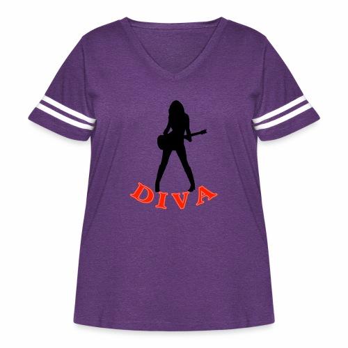Rock Star Diva - Women's Curvy Vintage Sports T-Shirt