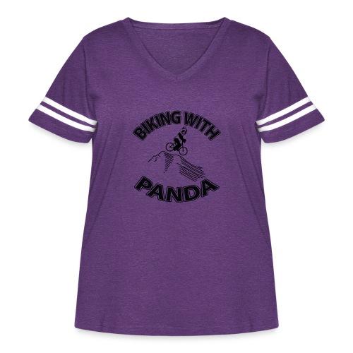 Biking with Panda - Women's Curvy Vintage Sport T-Shirt