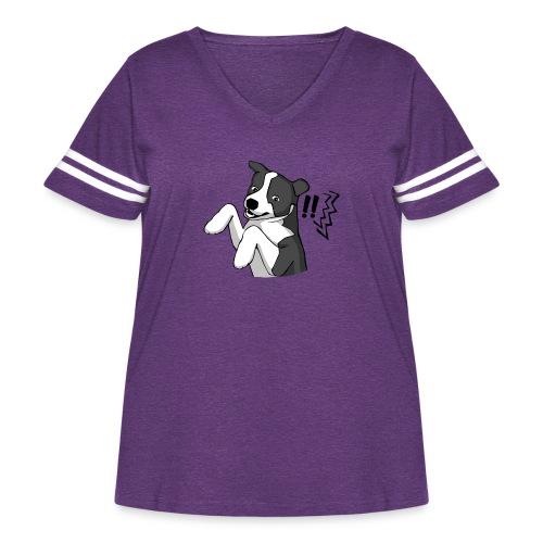 Surprised Border Collie - Women's Curvy Vintage Sport T-Shirt